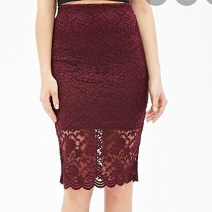 Forever 21 Floral Lace Skirt